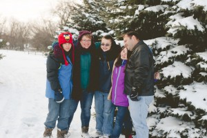 I just love this picture! All of us snuggled together against the cold.